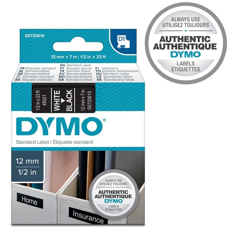 Dymo Label Manager 160 Etichettatrice Bianco su Nero Autoadesive Rotolo da 12 mm x 7 m Etichette Originali